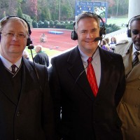 Tim Amos, Doug Piercy, and Lewis call the 2005 State 3A Football Championship at Duke University