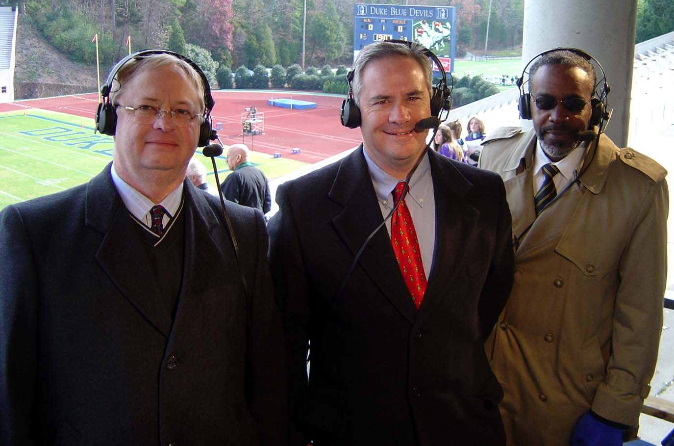 Tim Amos, Doug Piercy, and Lewis Isaac call the 2005 State 3A Football Championship at Duke University